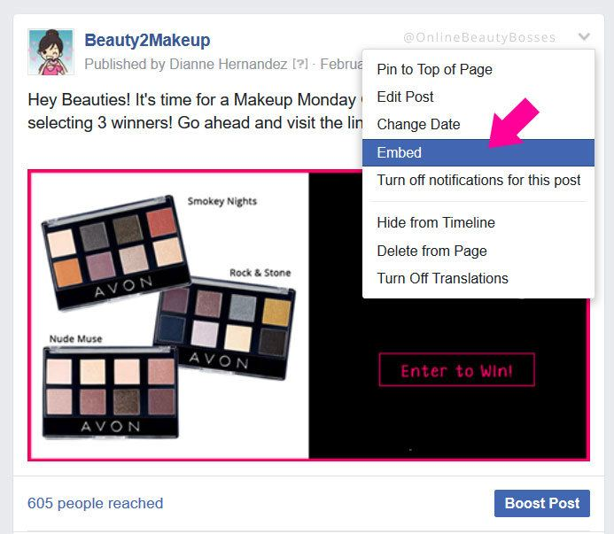 Finding the link to your Facebook giveaway