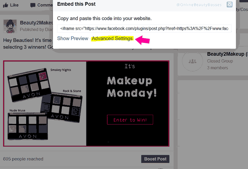 sharing your facebook Giveaway link