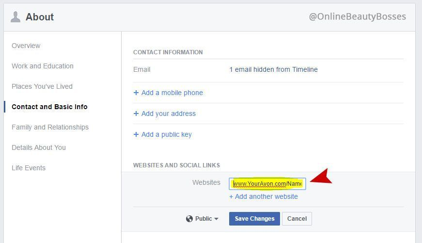 How to add your Avon eStore Link to Facebook Step 4