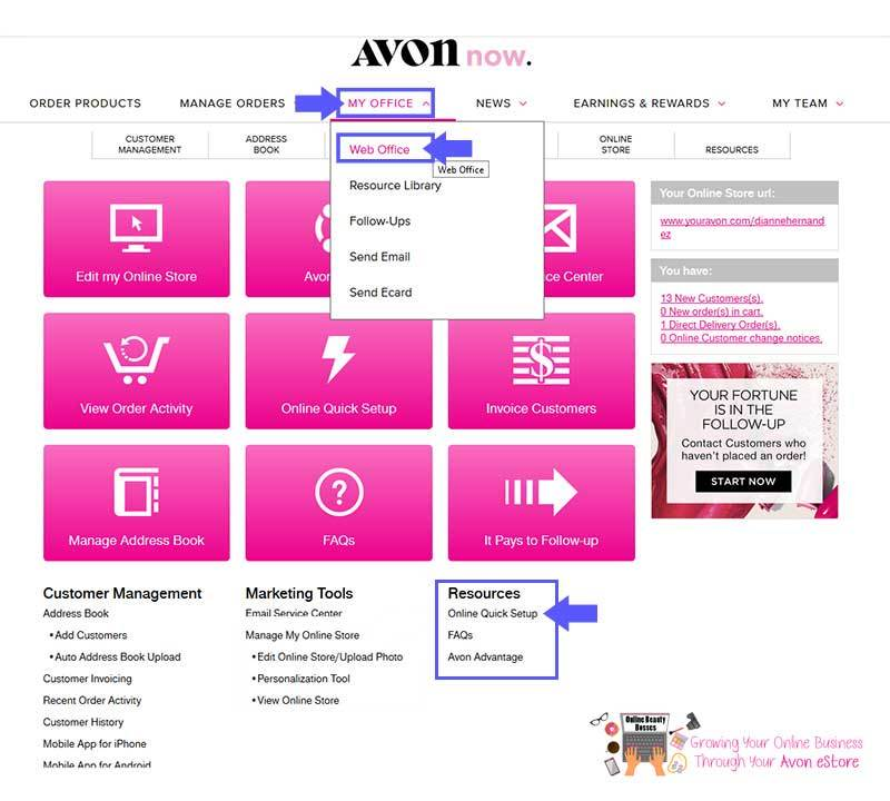 Hot to set up your Avon Online Store