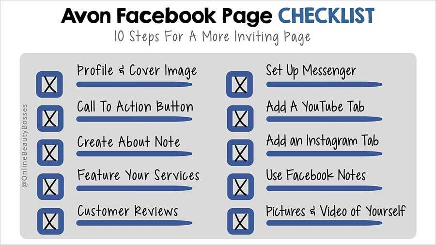 An Avon Facebook Page Checklist