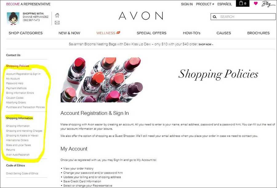 Avon Online Shopping Policy